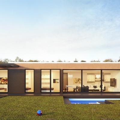 Casas prefabricadas de hormigón que combinan diferentes materiales