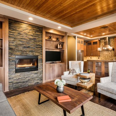 Falso techo de lamas de madera