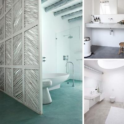 Baños con suelos vinílicos y de microcemento