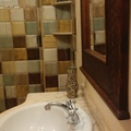 Baño 15x15 estucado rústico terminación