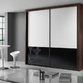 armario correderas cristal blanco y negro