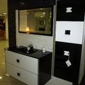 conjunto de baño suspendido encimera integrada cristal negro