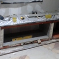 Construcción de meseta de apoyo, para chimenea de leña.