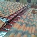Cubierta de estructura ligera, panel aislamiento y teja