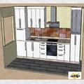 Diseño de cocina con frontal en vidrio artistico IV