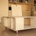 Mueble bajo de contrachapado en reforma de piso