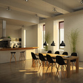 Lo mas moderno en espacios compartidos cocina y comedor