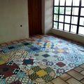Mosaico hidráulico con barro