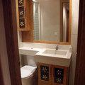 Mueble con lavabo integrado y brazo para sanitario