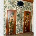 Mural de hormigón y vidrio en interiores, Cafetería