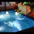 Piscina nueva con jacuzzi, cascadas, natación contra corriente, focos DMX