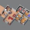 Planta de vivienda 3D color
