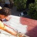 Reparación de cornisa (Tras limpieza, y reparación de albañileria) Colocación de malla reforzada de fibra de video