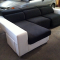 Sofa mas chaiselonge con sistema relax y pouff sueltos
