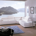 Sofa rinconera en pel blanca