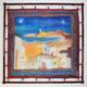 Pañuelo de seda 90x90 cm. marina Con bastidor de madera.