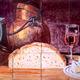 Bodegón con pan, vino, queso y cobre