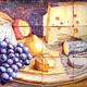 Bodegón con uvas y quesos