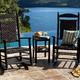 CASA BRUNO Jefferson mecedora tradicional con asiento y respaldo trenzado, HDPE poly-madera