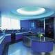 Cocina en isla iluminada