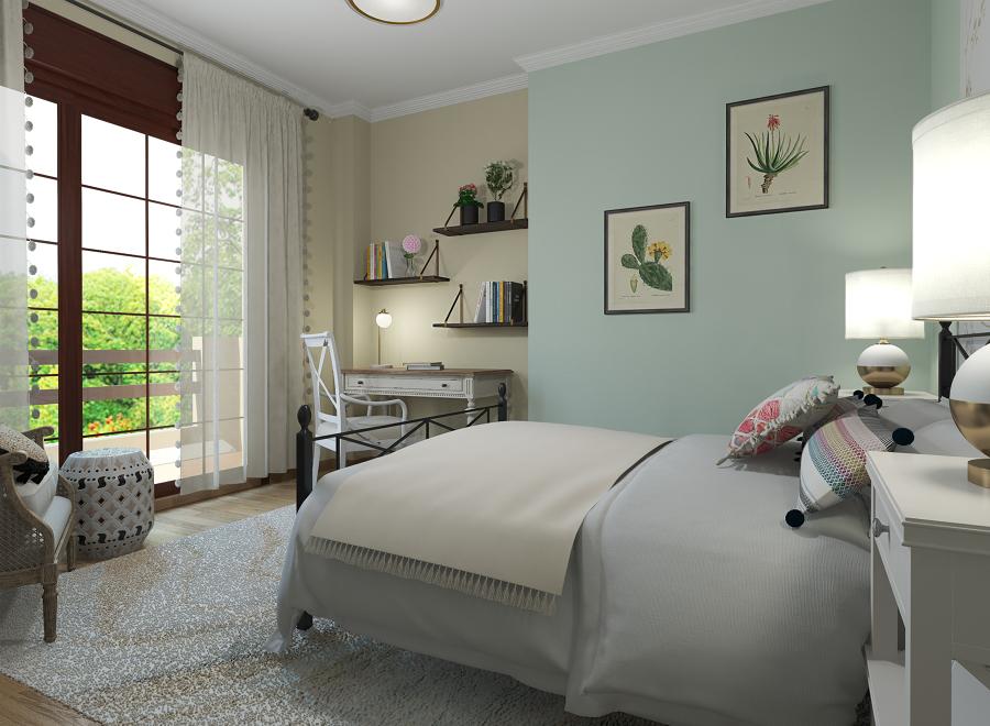 Dormitorio con toques rústicos