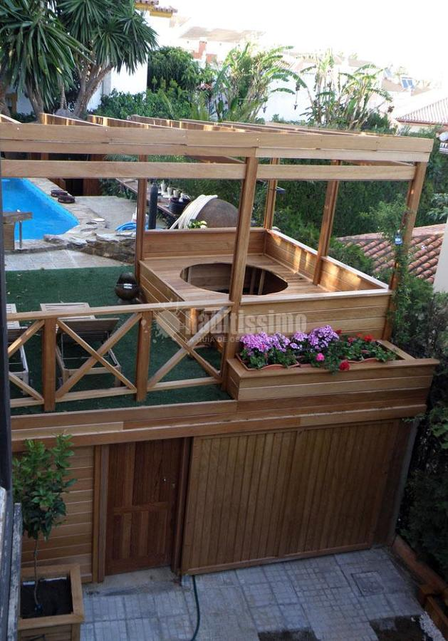 Foto p rgola de madera garaje muebles jard n casas - Pergolas de madera valencia ...