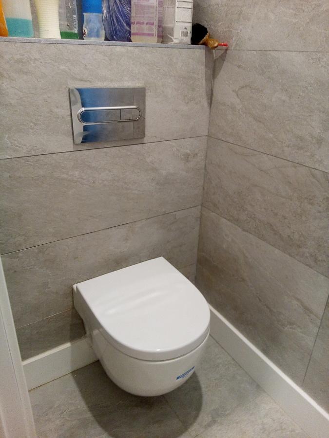 Taza WC suspendida con pulsadores y cisterna integrada