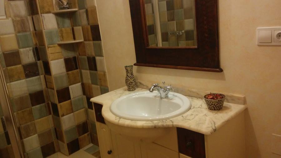 Baño 15x15 rústico terminación