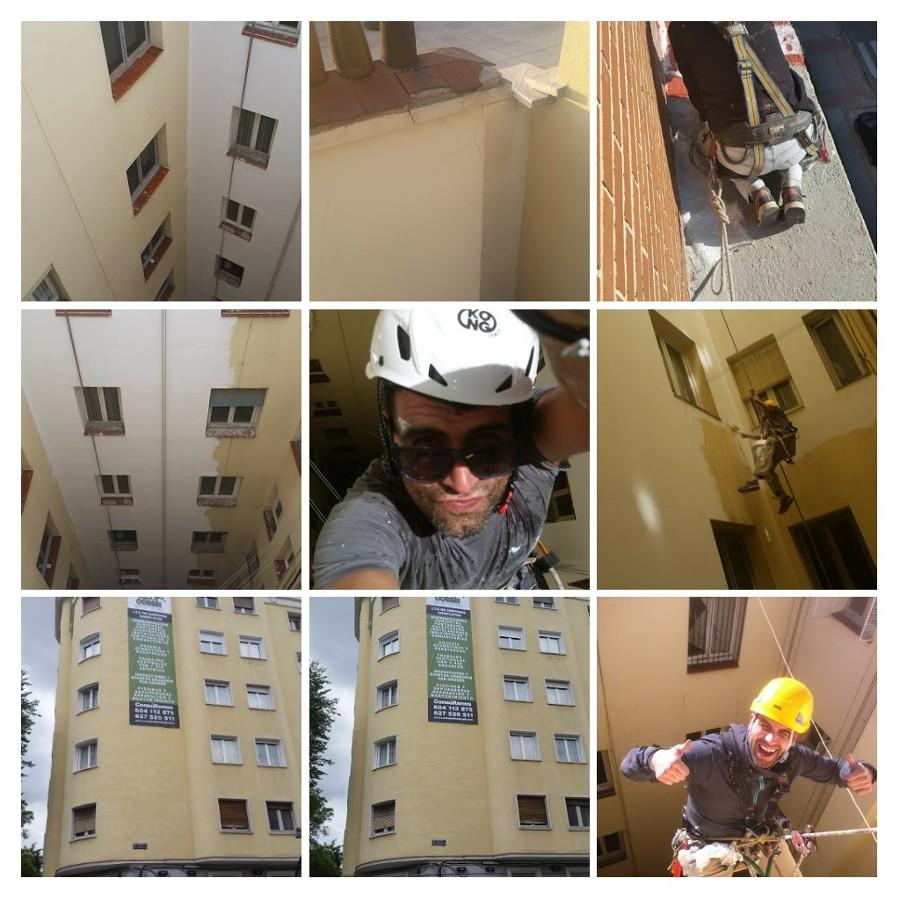 Rehabilitaciónes de fachadas mediante descuelgues VERTICALES.