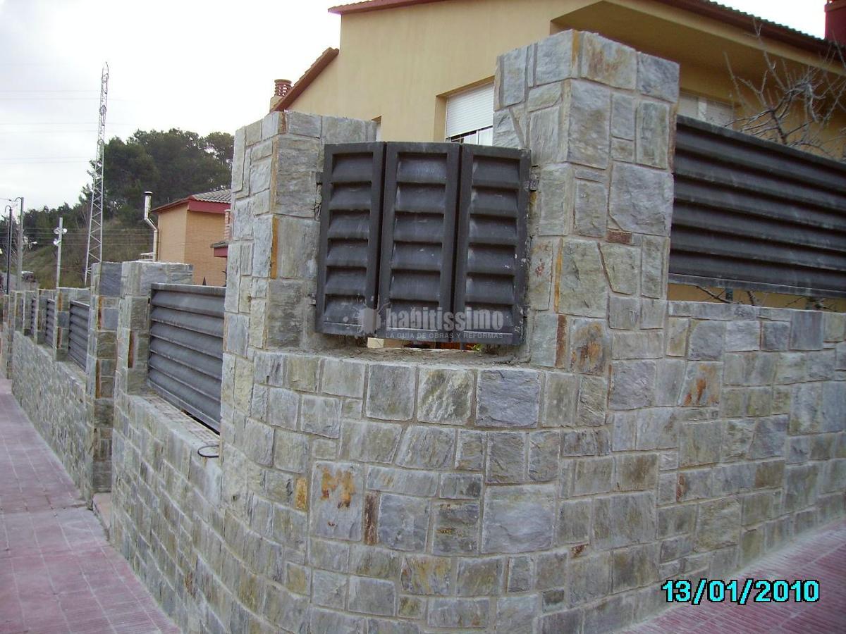 Foto aplacado de piedra llicorella rectangular con junta - Aplacado piedra fachada ...