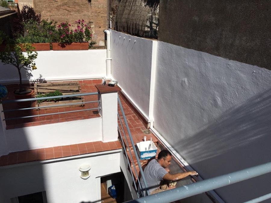 Terraza recién pintada