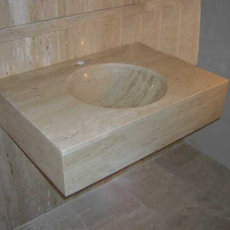 Encimera de lavabo, lavabo bajo encimera en Travertino Romano