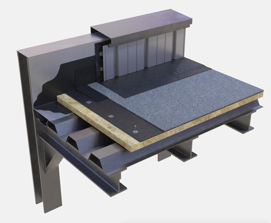 Cubierta no transitable sobre deck metálico con aislamiento