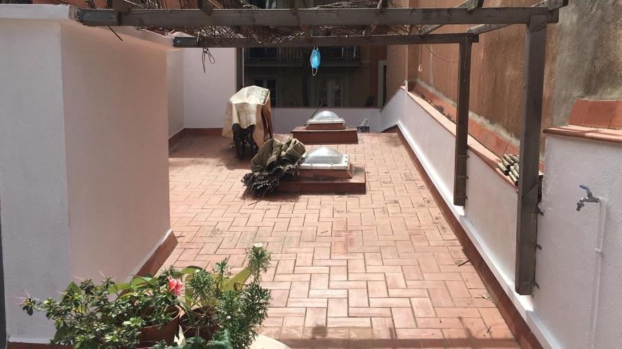 Parte de terraza pintada
