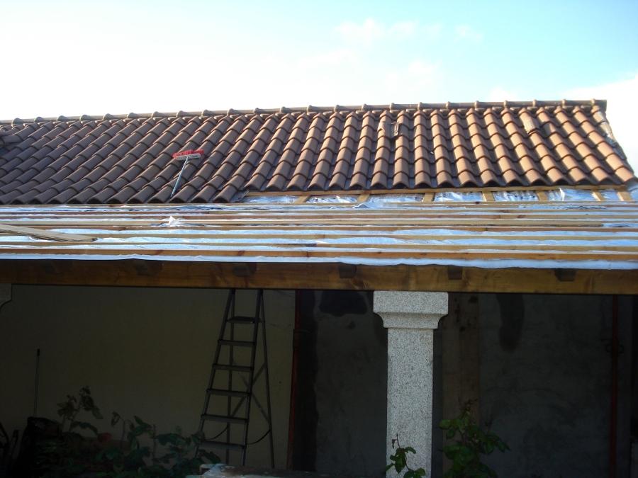 Aislar y continuar tejado existente para porche