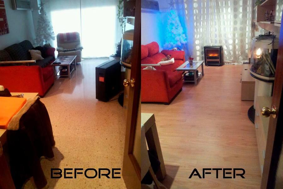Antes y después de la colocación de parquet en roble.