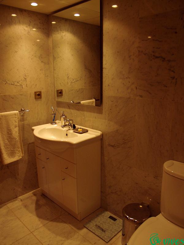 Aseo completamente equipado con alicatados de mármol reformado en Zaragoza