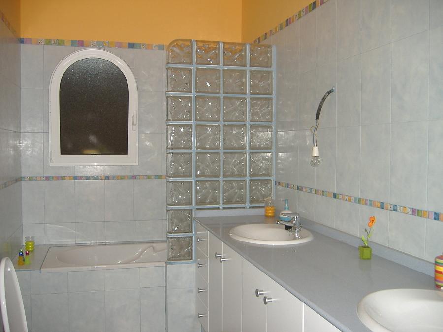 baño con pared de cristal
