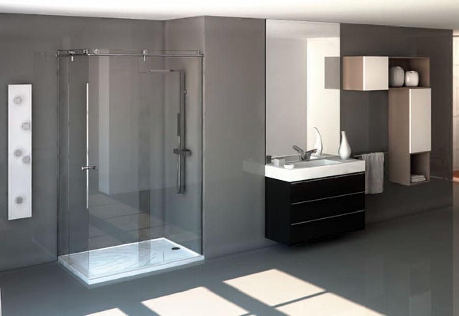 Foto ba o con lavabo de y plato de ducha silestone de for Accesorios para platos de ducha