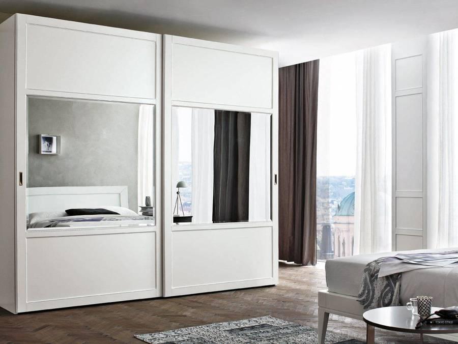 Foto armario lacado blanco con espejo de puertas jemofer - Puertas para armarios empotrados precios ...