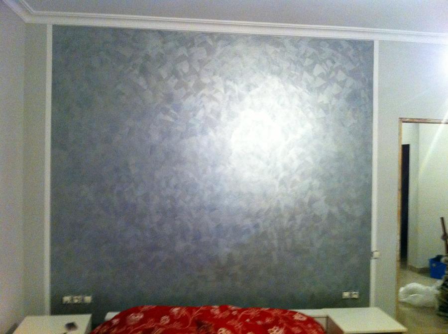 Foto cabecero efecto trapeado plata de pintores victor m - Pintura efecto envejecido leroy merlin ...