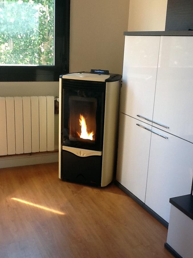 Foto caldera estufa pellets en el salon de instalaciones for Estufas de pellets sin salida de humos