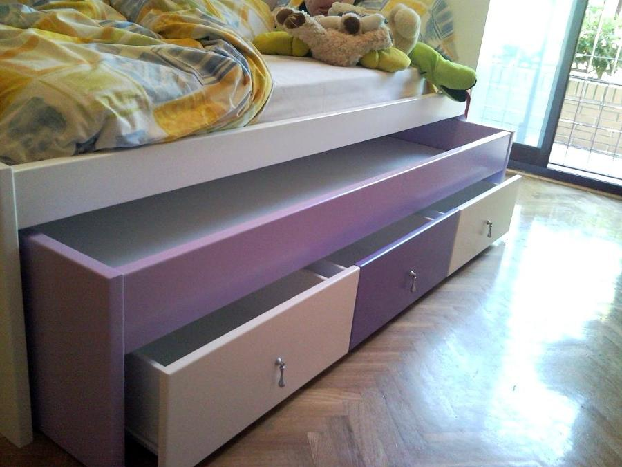 Foto cama nido con cajones lacado en varios colores de for Medidas cama nido con cajones