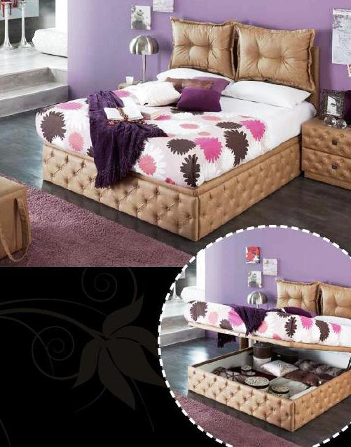 Foto cama tapizada con canap de muebles la plaza del for Muebles castillo murcia