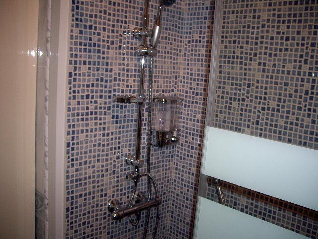 Foto cambio de azulejos por plaqueta de imitacion gresite for Como colocar un plato de ducha