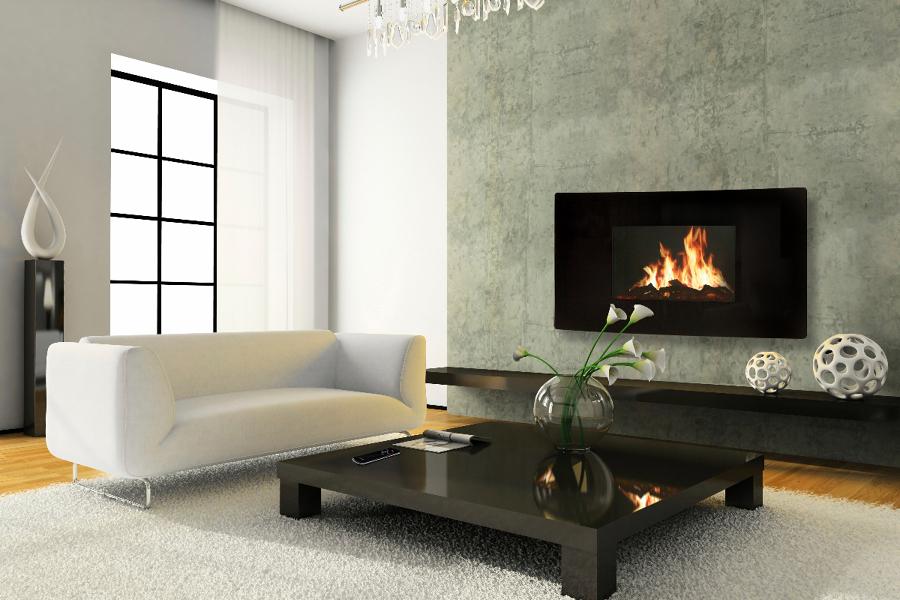 Foto chimenea el ctrica celsi modelo curvo de fireside for Salones con chimeneas electricas