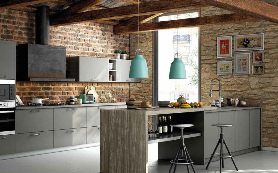 foto cocina con pared de piedra y ladrillo de old stones