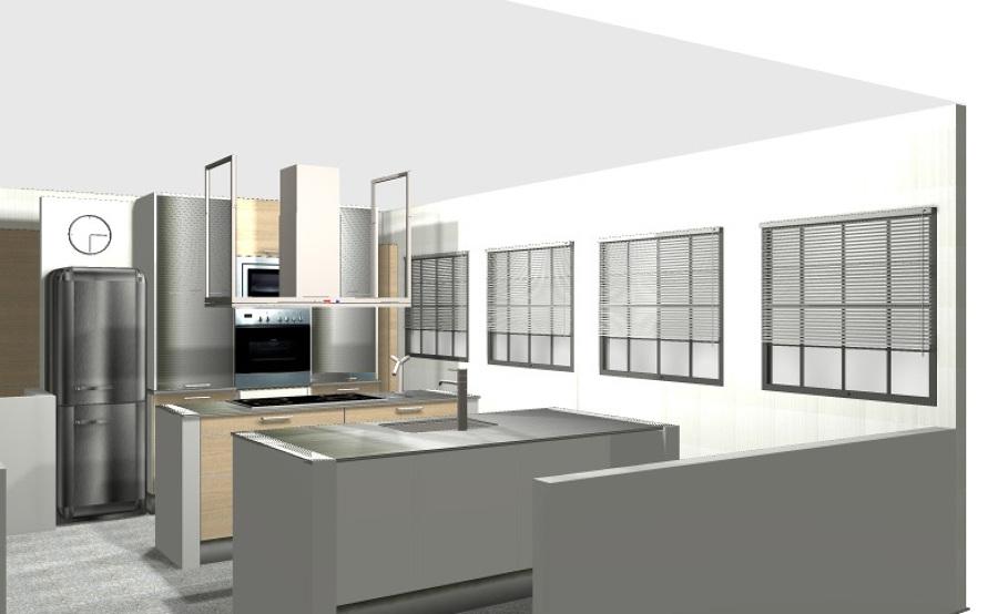 Cocinas minimalista para grades espacios