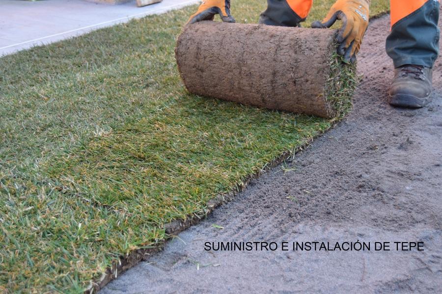 Colocación de tepe natural