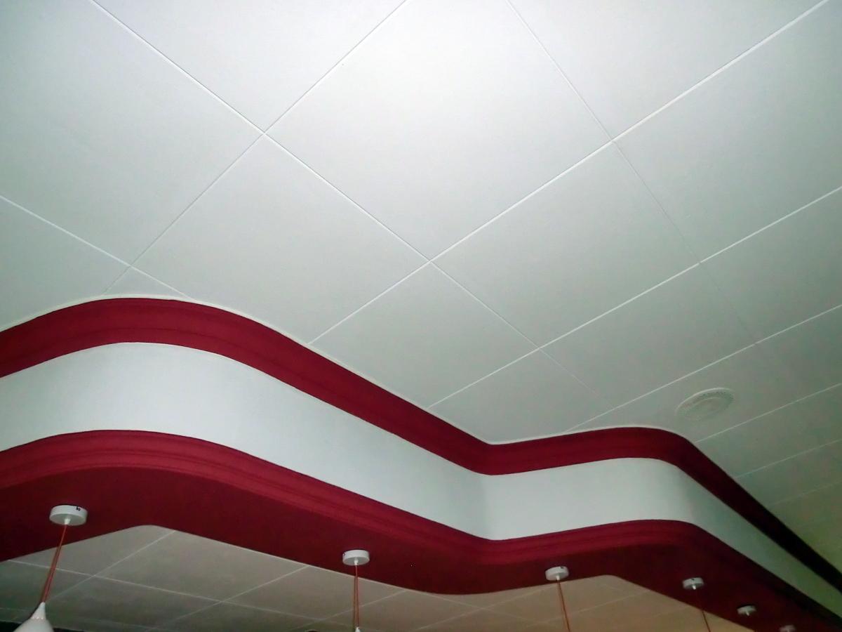 Colocar techos decorativos de 60x60 con molduras.